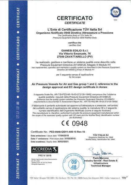 Modulo H1 97/23/CE PED
