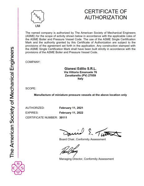 Certificazione ASME UM Stamped