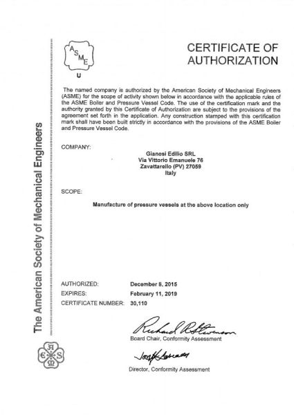 Certificazione ASME U Stamped