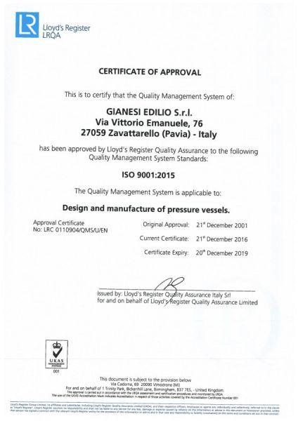 Certificazione ISO 9001:2015 con Lloyd's Register
